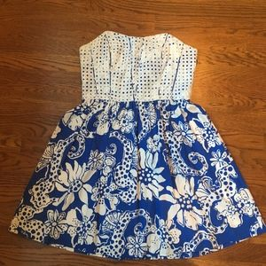 Royal Blue and White Strapless Lily Pulitzer Dress